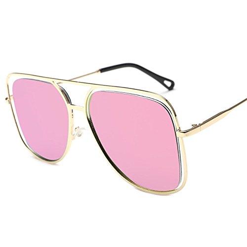 Gafas de color de sol de Dorado coloridas gafas y de Polvo 6 sol gafas Película de cuadrado Shop sol gran sol coloridas Gafas ahuecadas oceánico Marco metálicas individuales de 56z1nE1wqO