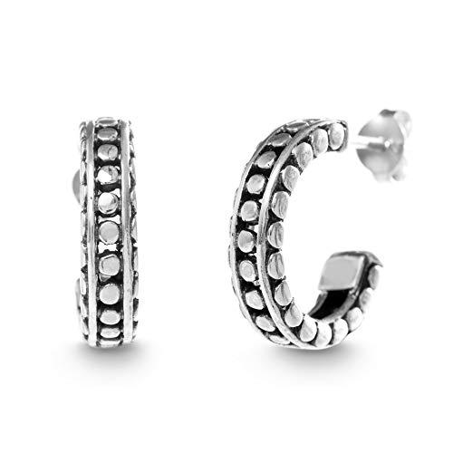 (WILLOWBIRD Beaded Half Hoop Earrings for Women In Oxidized 925 Sterling Silver)