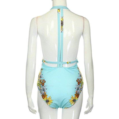 Internet Las mujeres traje de baño de una sola pieza de baño bikini push-up de baño Azul