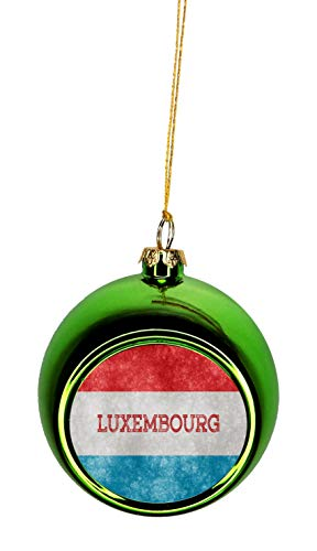 Rosie Parker Inc. Flag Luxembourg - Luxembourger Grunge Flag Bauble Christmas Ornaments Green Bauble Tree Xmas Balls (Christmas Luxembourg)