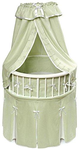 Badger Basket Elegance Round Baby Bassinet, White with Sage Waffle