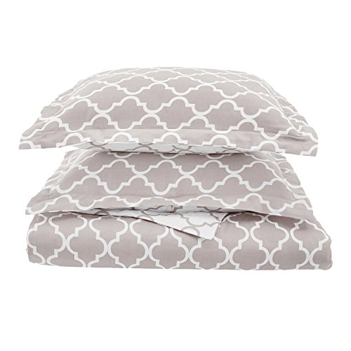 Superior 100% Cotton Trellis Geometric Bedding, 3 Piece Reversible Duvet Cover Set, Soft and Breathable Cotton Bed Set, 300 Thread Count with Hidden Button Closure - King/California King, Grey