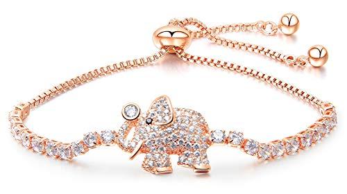 Wonlines Fashion Alloy Animal Elephant Tag Bracelet Ice Out Crystal Adjustable Link Bracelet