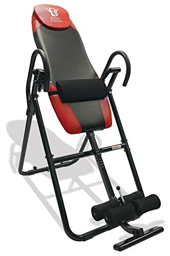 Body Vision IT9825 Premium Inversion Table with Adjustable Head Pillow Lumbar Support Pad, Red – Heavy Duty up to 250 lbs