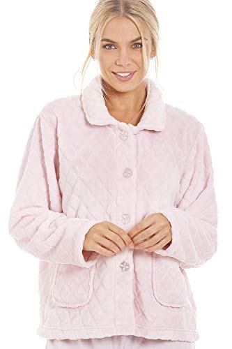 Camille Womens Luxury Soft Button Bed Jackets 18-20 Diamond Pink