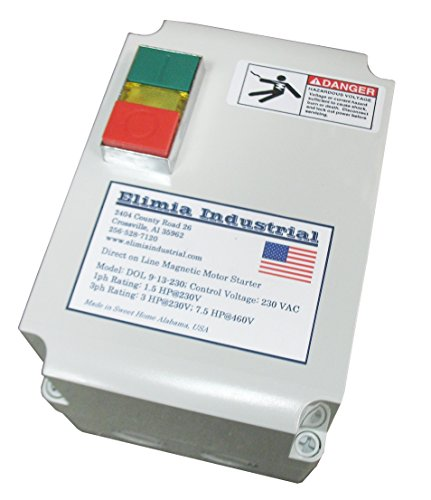 Elimia Enclosed Magnetic Motor Starter, Single Phase, 2 HP, 230V, 1 Phase,Nema 4X, 9-13 Amp Overload, Made in USA