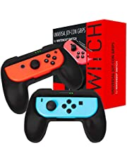Orzly Grips compatible for Nintendo Switch JoyCons for Extra Comfort - TWIN PACK (2x BLACK) Universal Sided Grip Attachments for use with Nintendo Switch Joy-Cons