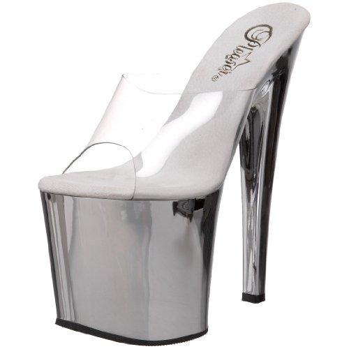 Pleaser Taboo-701 - Sandalias Mujer Silber (Silber (Clr/Slv Chrome))