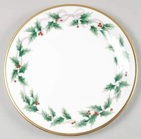 (Ribbon Holly Cake Plate 11 3/4