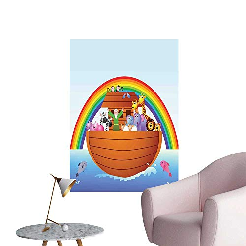 Brandosn Cartoon Wall Sticker self-Adhesive The Ark and Colorful Sky Every Kind of Creature Sailing Artful Story Design Print for Kids Rooms Boy Room Multicolor W24 x H36 ()