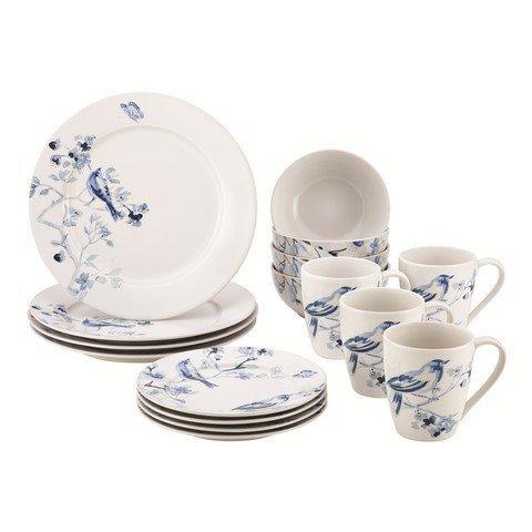 Paula Deen 59994 Dinnerware Indigo Blossom Stoneware Printed Dinnerware Set44; 16 Piece