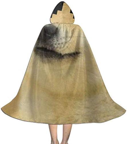 PZUS5D Sunglsses Cool Doge Dogs Navidad Disfraces de Halloween Capa de longitud para ni ntilde;os Bata con capucha Capa de fiesta de cosplay