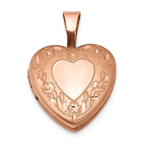 925 Sterling Silver Rose Gold Plated Flower Border 12mm Heart Photo Pendant Charm Locket Chain Necklace That Holds Pictures Religious Cross Fine Jewelry For Women Gift Set