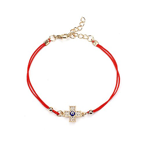MEIBEADS Red String Evil Eye Hamsa Hand Cross Bracelets (Cross)