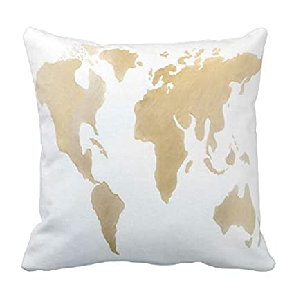 Amazon Com Aolian Cyw Gold Paint World Map Pillow Case 20 In Home