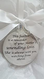 Memorial Christmas Ornament - Mother's Unending Love w/ Feather from an Angel Wing Charm