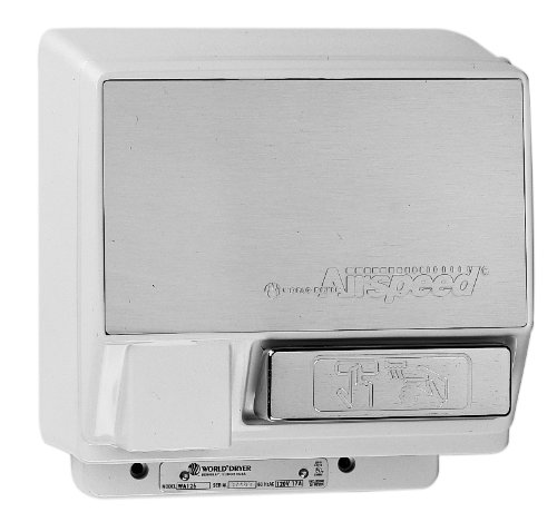 (World Dryer Airspeed WA126-201 Brushed Chrome Push Button Hand Dryer - 120V 13A)