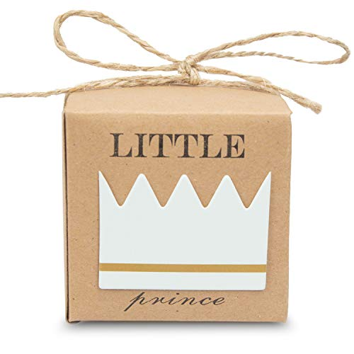 (30pcs Little Prince Baby Shower Favor Boxes with Burlap Twine for 1rst Birthday Boy Decoration Rustic Craft Paper Candy Box Party Favor)