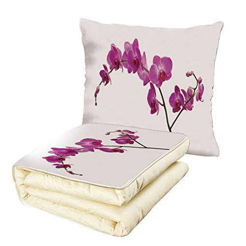 Quilt Dual-Use Pillow Magenta Decor Wild Orchids Petal Florets Branch Romantic Flower Exotic Plant Nature Art Print Multifunctional Air-Conditioning Quilt ()