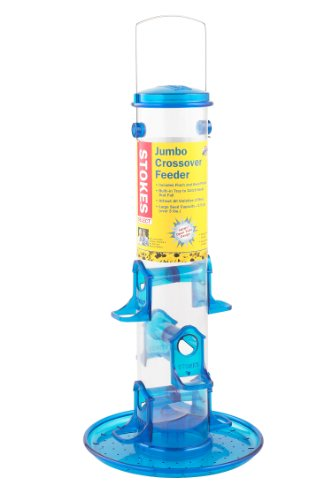 Stokes Select Jumbo Crossover Tube Feeder with Six Feeding Ports, Blue, 3 lb Seed (Jumbo Feeder)