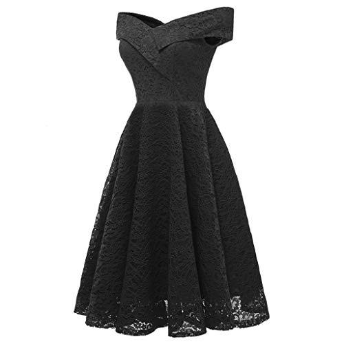Doinshop Robes De Dentelle Pour Les Femmes Demoiselle D'honneur Floral Vintage Épaule De Mariage Robe De Soirée Noire