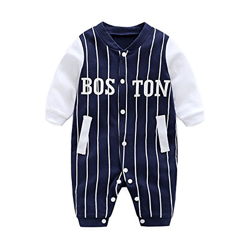 (DOESLOOK Newborn Baby Boys Baseball Romper Infant Long Sleeve Cotton Fabric Outfits Kids Clothes Toddler Jumpsuit for Spring Full Winter (3-6 Months, 032 Dark)