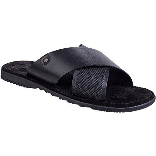Base London Black Black 010 Waxy Black Men's Open Toe Hector Sandals BPfxBrAqw