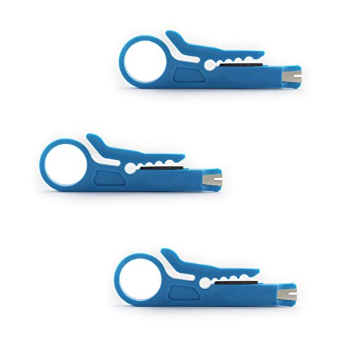 Cable Stp Stripper - Maxmoral 3-Pack Mini Wire Stripper Portable Crimping Tool UTP STP Network Cable Cutter Impact Punch Down Tool for Keystone Jack RJ45 Ethernet Module Blue