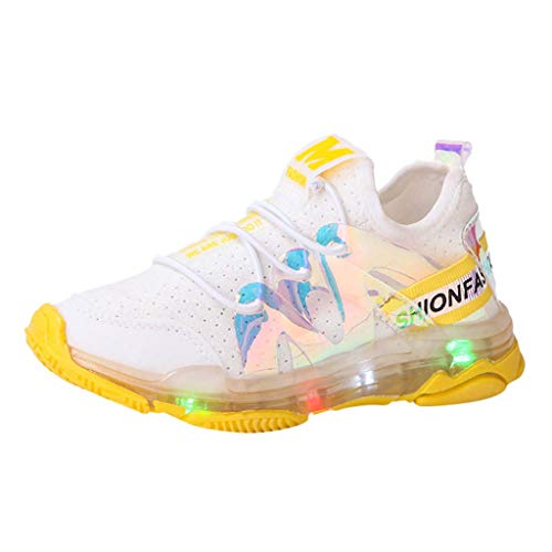 Gleamfut Kids Baby Girls Coloring Sneakers Cute Sweet Color Printed Children Favorite Flash LED Light Shoes Sport Casual Shoes Yellow ()