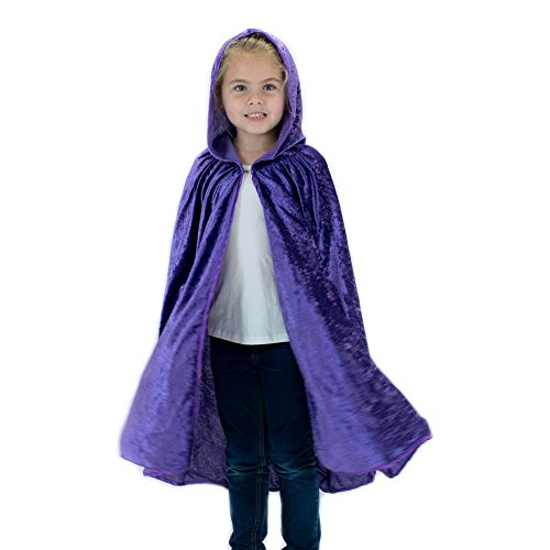 Kids Cosplay Hooded Cloak Cape - Purple -
