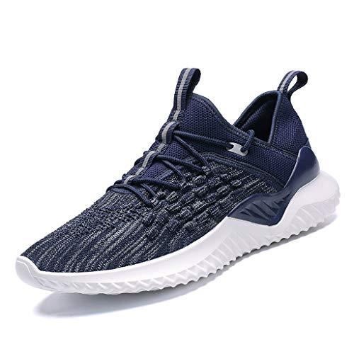HULKAY Mesh Sneakers for Men丨Ultra Lightweight Breathable Athletic Running Walking Gym Shoes丨Mens Athletic Tennis Sport Shoes(Blue,US:8.5/CN:42) (Light Bone Footwear)