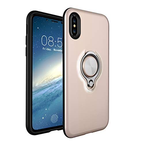 ANERNAI iPhone Xs Max XS Plus (2018) 6.5 Inch Case, Thin Hard Shockproof Durable Ring Kickstand Magnetic Car Mount Shell,Gold