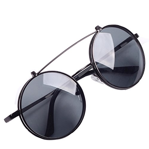 GUGGE Unisex Retro Round Clamshell Sunglasses Double - Sunglasses Army Regulation