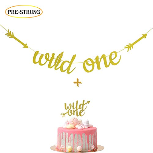 How Long To Read Fadilo Wild One Gold Glitter Banner Sign With Cake Topper For Boho Tribal Themed First Birthday Party