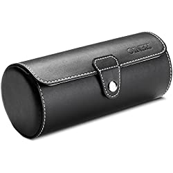 Leatherette Roll Traveler's Watch Storage Organizer for 3 Watch and/or Bracelets (Black)