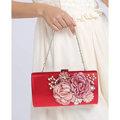 donna borsa di borsa da sera elegante di Borsa nozze delle frizioni signora Borsa della Borsa della della da Color mano della fiore White della sera Borsa frizione Red da Clutch sera del IwqP6Uw