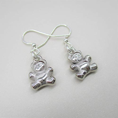 Darling Teddy Bear Earrings, Dangle earring, hook earring, Silver Bear Pendant, Boho Chic Jewelry