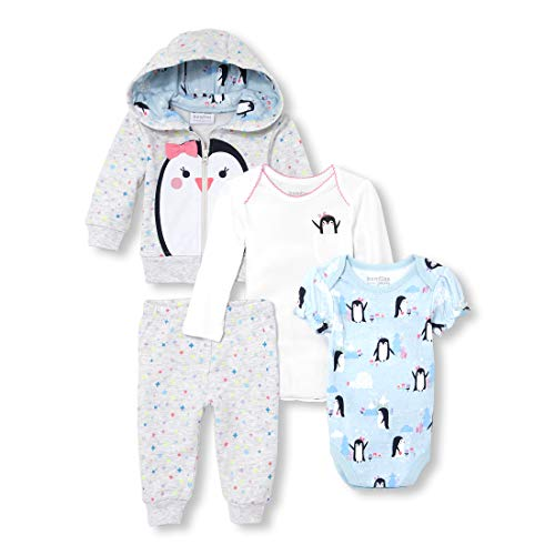 The Children's Place Baby Girls Printed Hoodie Bodysuits and Pants 4-Piece Playwear Set, Heather/T Lunar, 9-12MOS ()