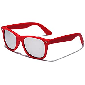 Colorful Retro Fashion Sunglasses - Smooth Matte Finish Frame - Silver Mirror Lens - Red