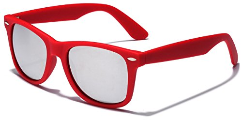 Colorful Retro Fashion Sunglasses - Smooth Matte Finish Frame - Silver Mirror Lens - - Best Online Store Sunglasses