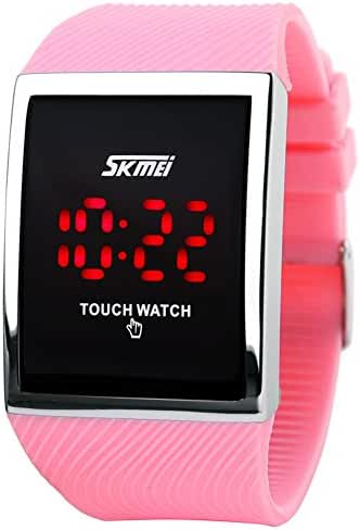 Skmei Touch Screen Digital LED Waterproof Boys Girls Sport Casual Wrist Watches Pink