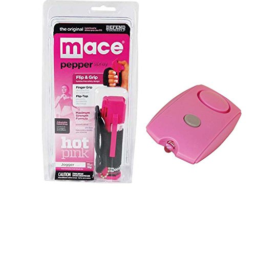 Pink Mace Jogger Pepper Spray/Mini Personal Alarm Bundle-Lot of 2