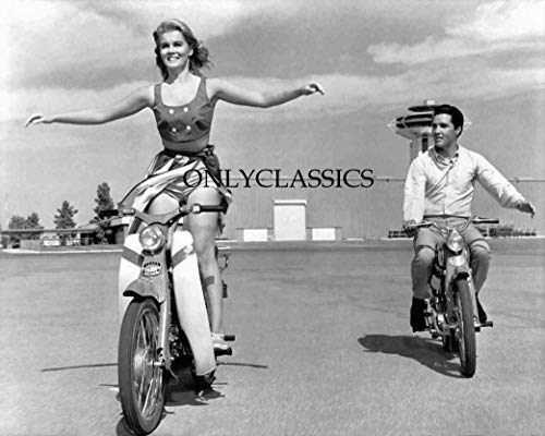 OnlyClassics 1964 Elvis Presley & NO Hands Sexy ANN Margret Honda CUB Motorcycle 8X10 Photo