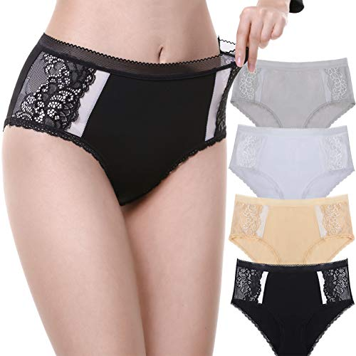 LEVAO Womens Cotton High-Rise Underwear Lace Hi Cut Panties Briefs Pack of 4