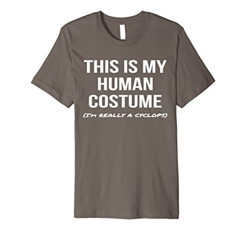 Cyclops Costume T Shirt (Mens Human Costume I'm Really a Cyclops Shirt Cosplay Tee Small Asphalt)