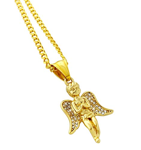 (Exo Jewel 18k Gold Plated Stainless Steel Mini Praying Angel Piece Pendant Necklace with 24