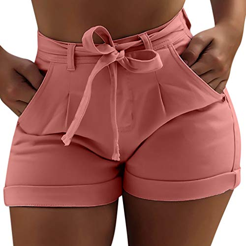 JOFOW Short Jeans Womens Denim Shorts Solid Tie High Waist Mini Pants Strappy Bowknot Skinny Casual Fashion Gift Trousers (4XL,Pink)]()