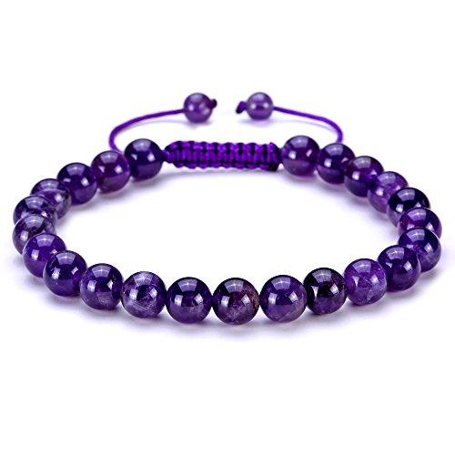 BRCbeads Gemstone Bracelets Purple Amethyst Natural Gemstones Birthstone Healing Power Crystal Beads Handmade 8mm Stretch Macrame Adjustable Loose Beads With Gift Box Unisex