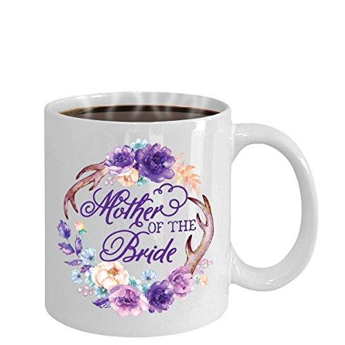 Mother Of The Bride Coffee Mug Tea Cup Hot Chocolate | Great Gift Idea | Wedding | Watercolor Flowers Wreath Antlers (Teacup Wreath)