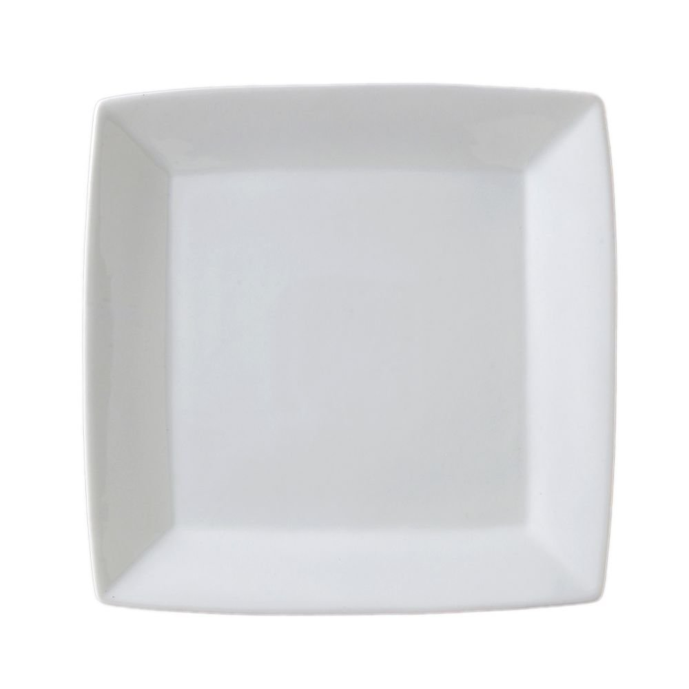 Vertex China ARG-S8P Signature Square Plate without Embossed, 9'', Porcelain White (Pack of 24)